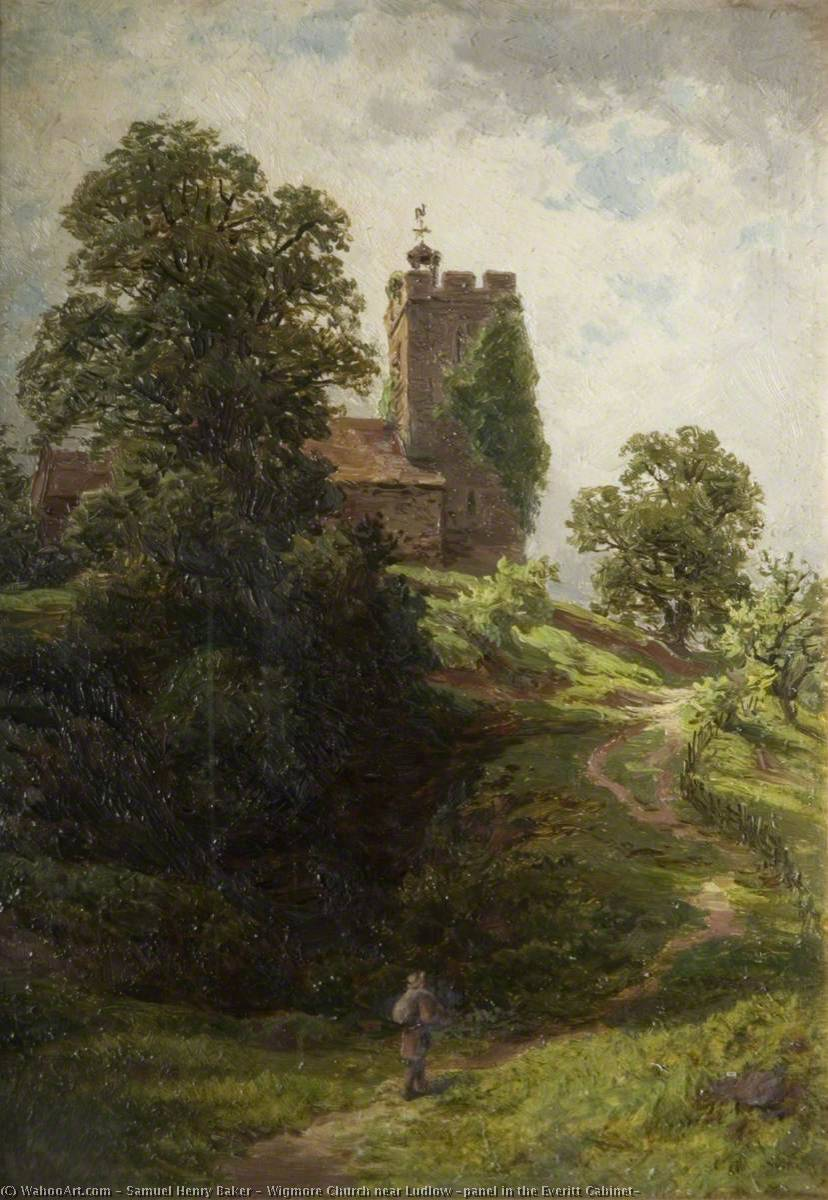 Wigmore Church near Ludlow (panel in the Everitt Cabinet), 1880 by Samuel Henry Baker | Museum Quality Reproductions | ArtsDot.com