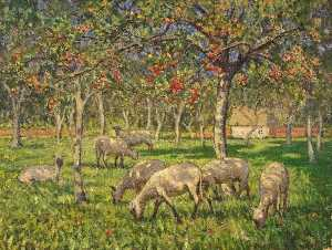 Janet C Fisher - Sheep in an Orchard at Ke..