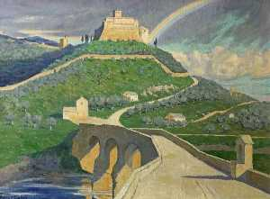 Janet C Fisher - Rainbow over Assisi, Ital..