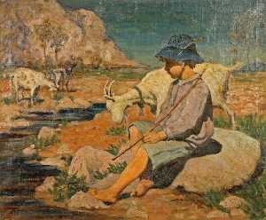 Janet C Fisher - A Boy with Three Goats