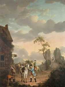 Gerrit Malleyn - A Hunting Party at Rest b..