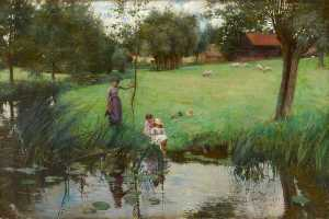 Bertha Newcombe - Landscape with Pond, Shee..