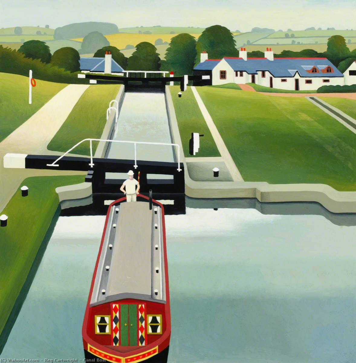 Canal Boat, 1992 by Reg Cartwright | Painting Copy | ArtsDot.com