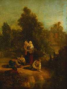 Augustus Wall Callcott - Landscape with mother and..