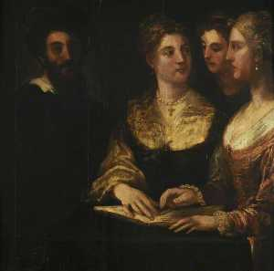 Niccolo Dell- Abate - A Concert Three Ladies Singing, a Gentleman on the Left