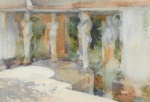 William Russell Flint - The Temple of Diane, Nimes Goddesses of Gracious Shade